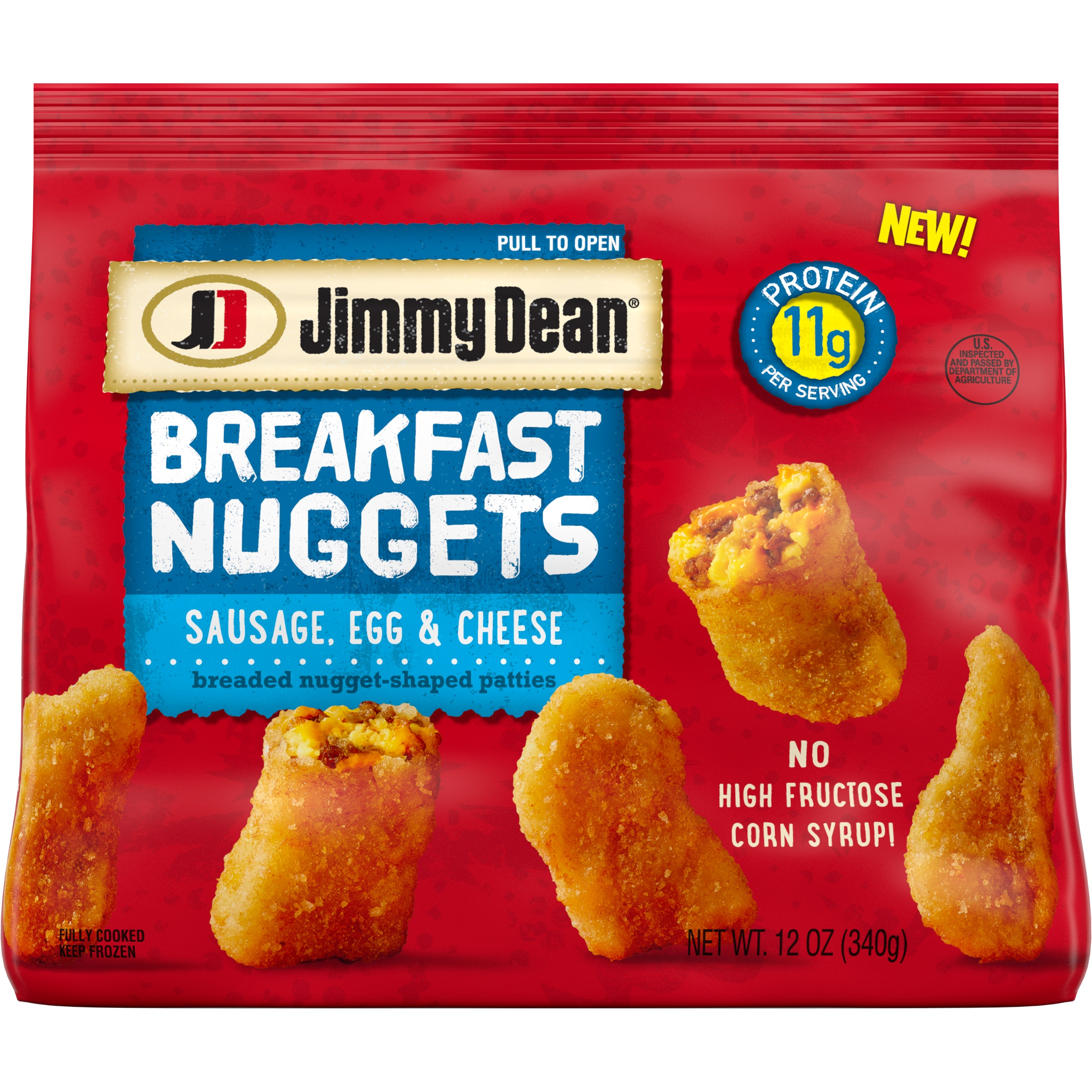 Jimmy Dean Breakfast Nuggets deliver a fun, new twist on a nostalgic family favorite, now for breakfast. Available in two delicious varieties: Sausage, Egg & Cheese and Chicken Sausage, Egg & Cheese