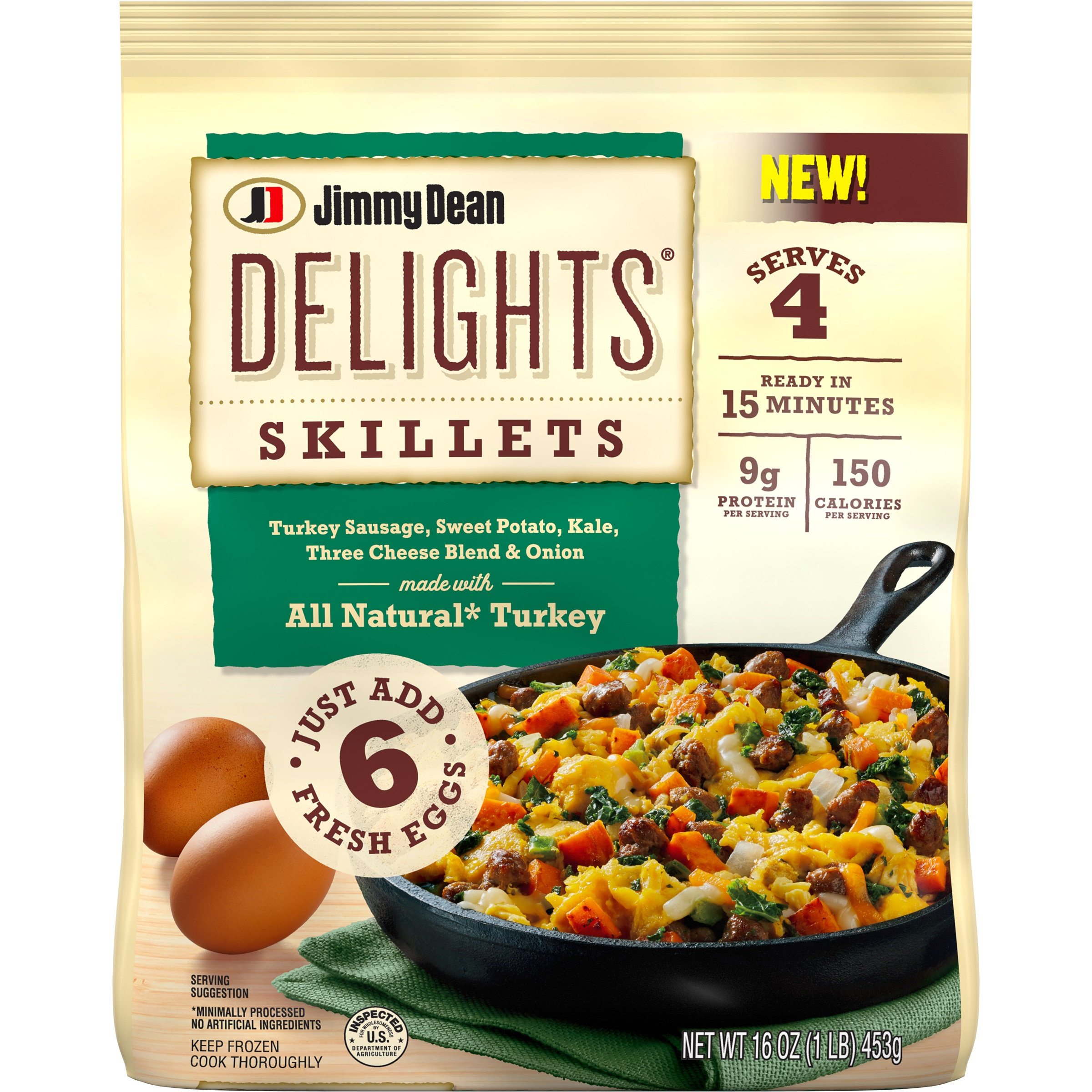 Jimmy Dean Delights® Skillets are a delicious, flavorful breakfast with seasoned vegetables and a three-cheese blend available in one flavor variety: Turkey Sausage, Sweet Potato and Kale