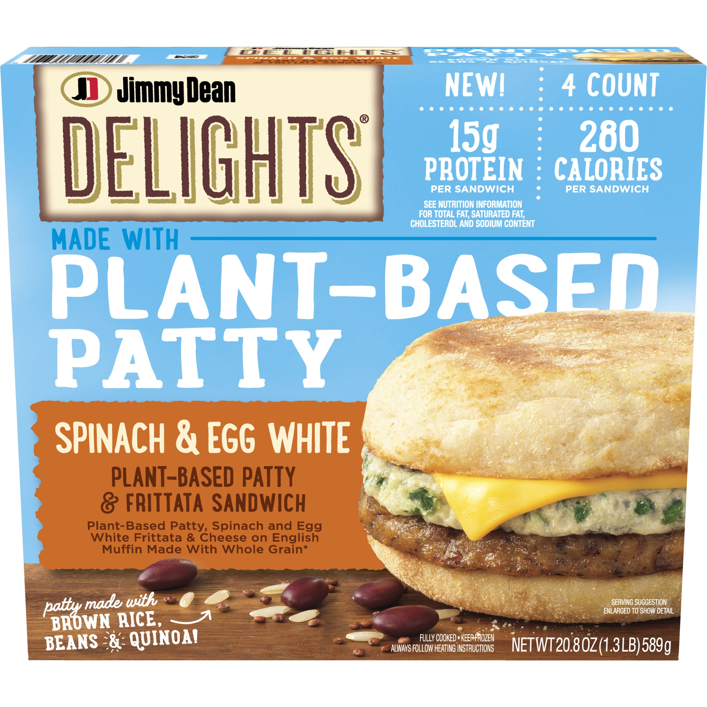 Jimmy Dean Delights® Plant-Based Patty & Frittata Sandwich features a vegetable and grain patty made of soy protein, black beans, brown rice, quinoa, and egg white topped with a spinach and egg white frittata and American cheese, all inside a whole wheat English muffin.
