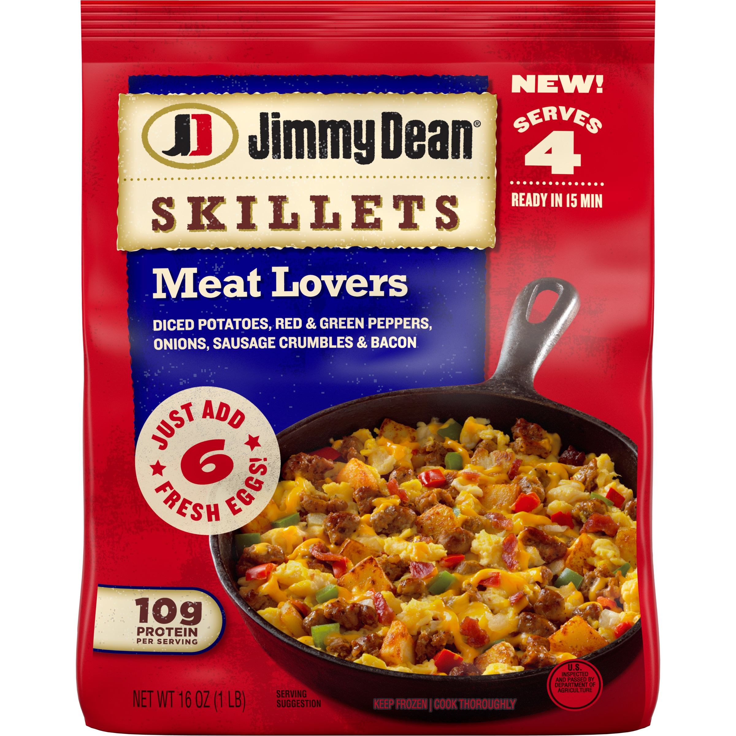Jimmy Dean Skillets provide a new take on a breakfast staple, delivering a savory, breakfast classic in two delicious varieties: Sausage and new Meat Lovers