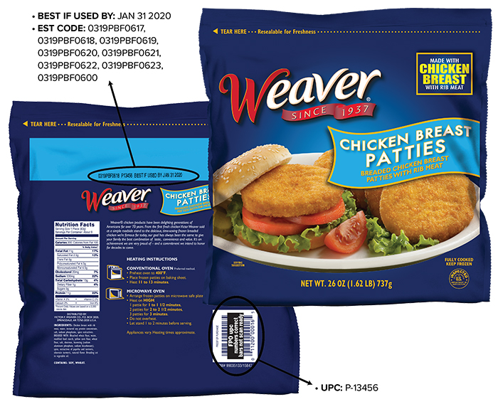 Weaver® Fully Cooked Chicken Breast Patties with Rib Meat