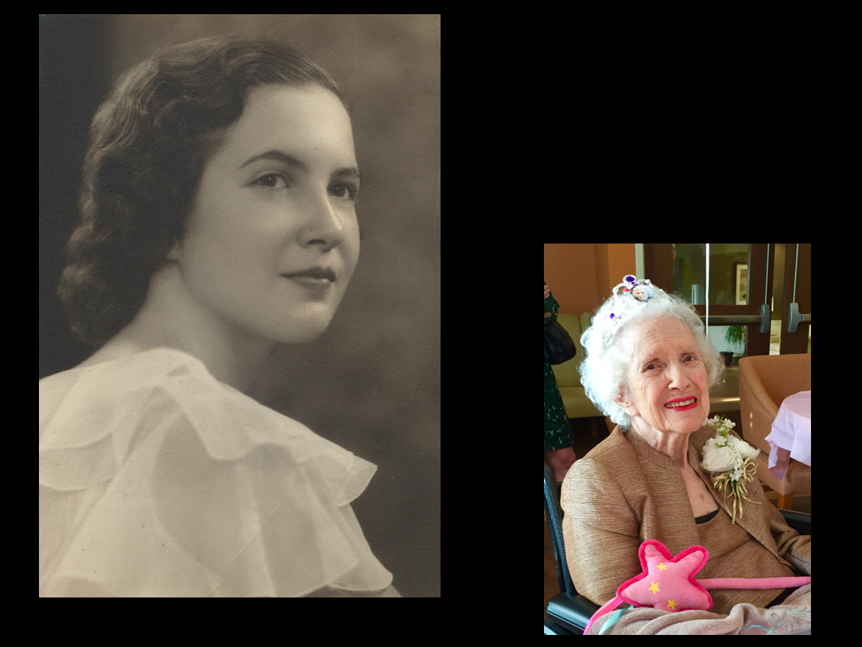 Marie Ulbrich, paternal grandmother of Julie Sielaff, as a young woman, and on her 100th birthday.